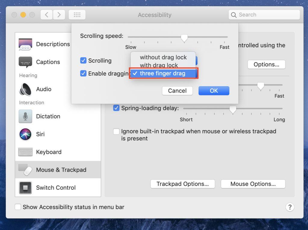 three finger drag macbook new mac